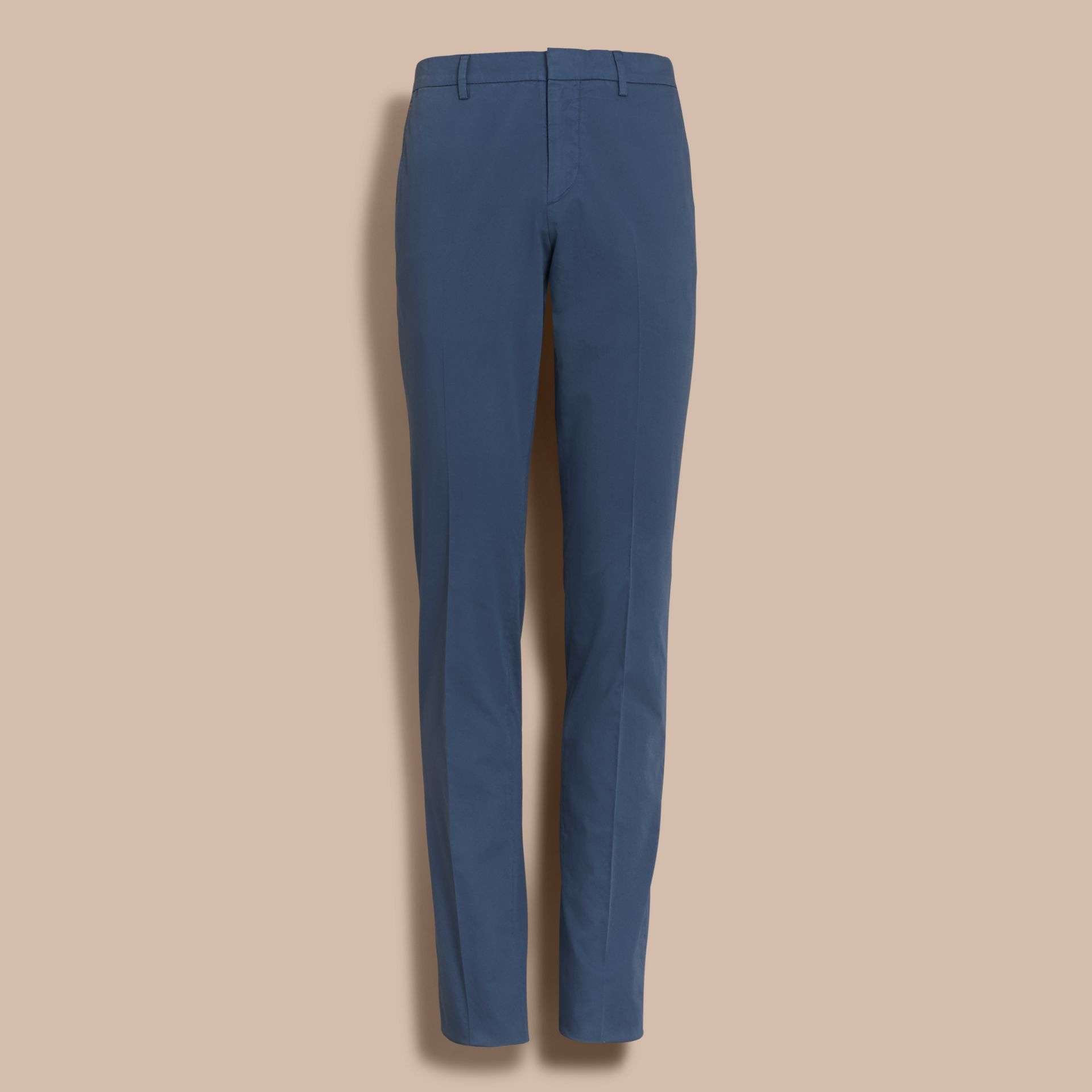 Slim Fit Stretch-Cotton Trousers - gallery image 4