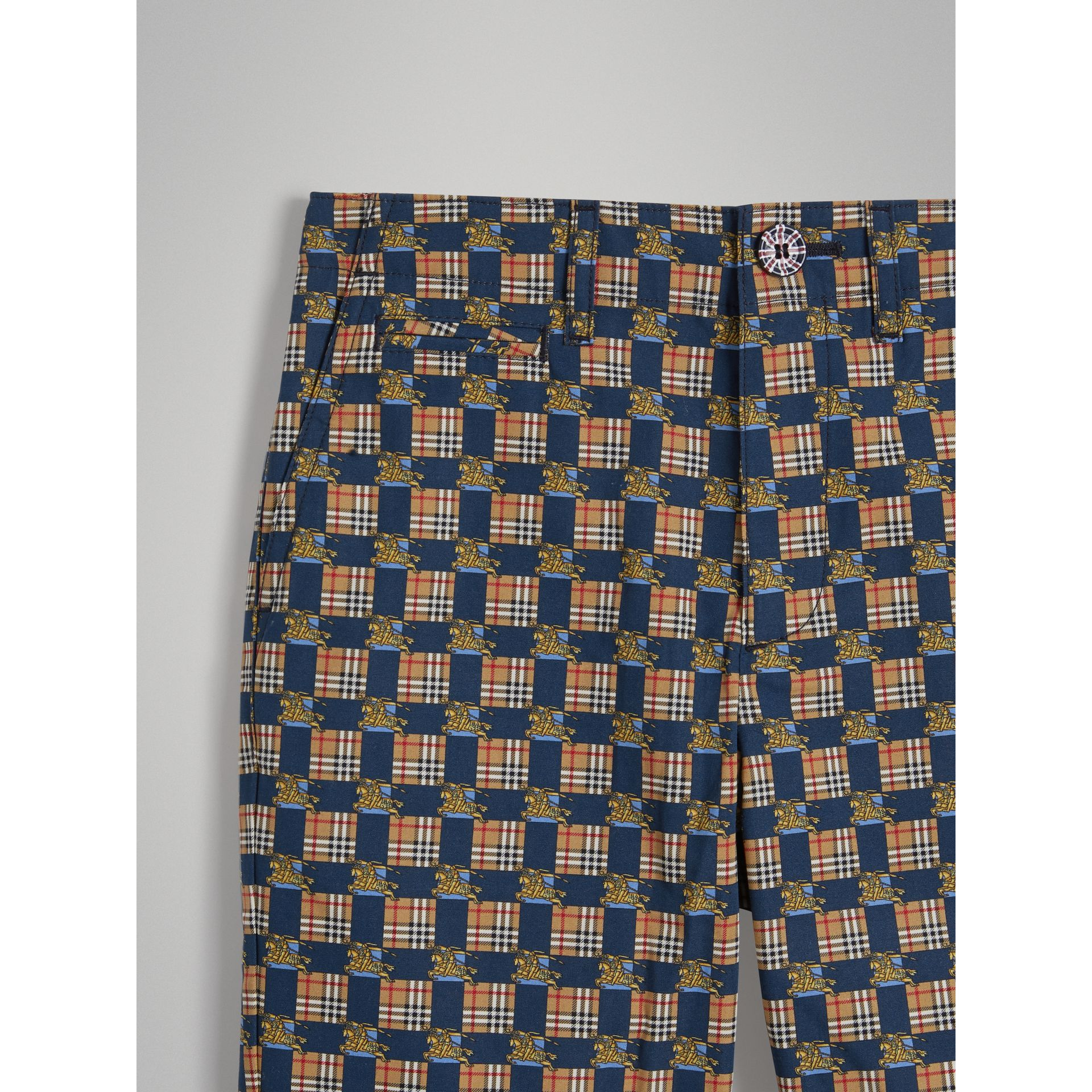 Tiled Archive Print Cotton Shorts in Navy | Burberry - gallery image 4