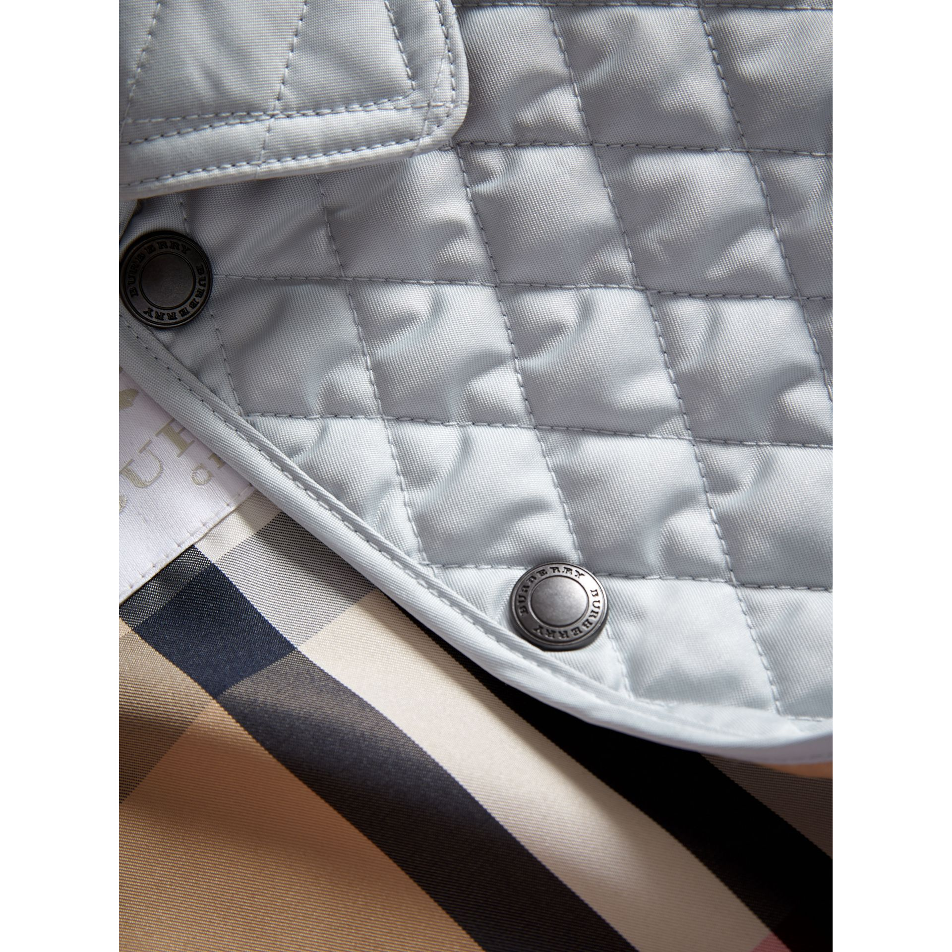Check Detail Diamond Quilted Jacket in Ice Blue | Burberry - gallery image 1