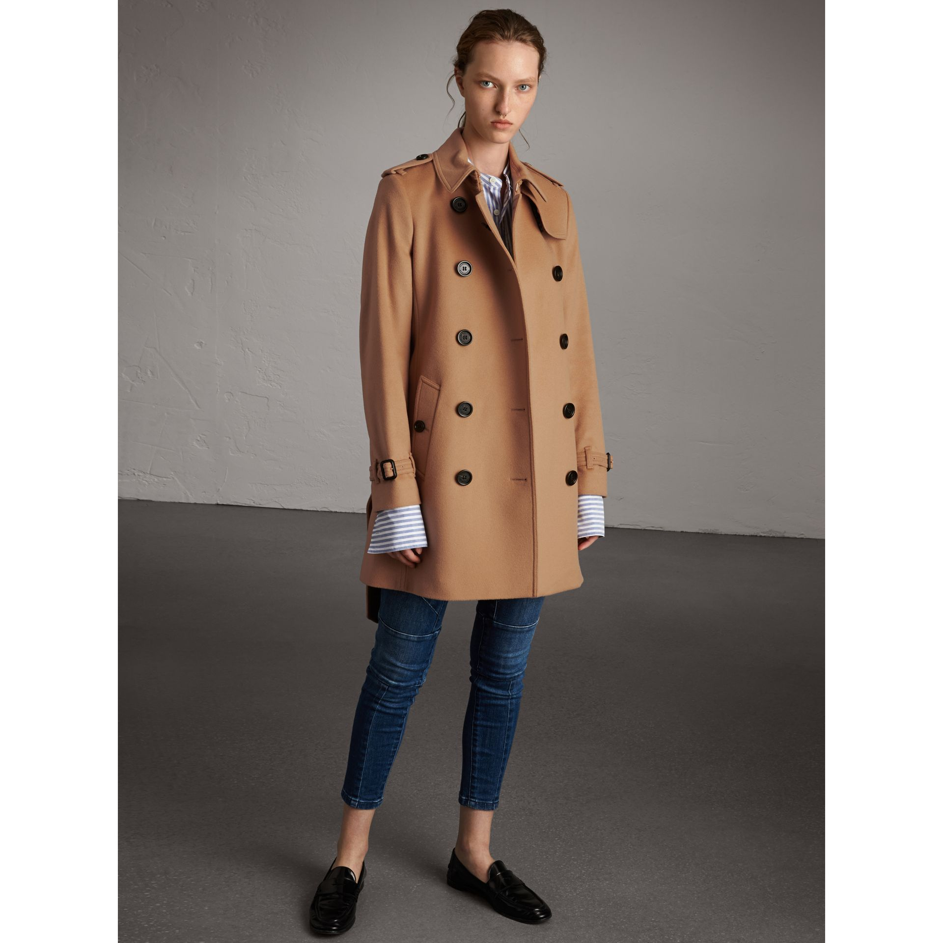 Wool Cashmere Trench Coat in Camel - Women | Burberry Hong Kong - gallery image 1