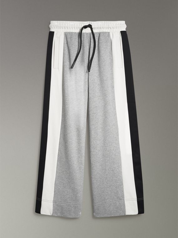 Stripe Detail Wide-leg Cotton Jersey Sweatpants in Pale Grey Melange - Women | Burberry Australia - cell image 3