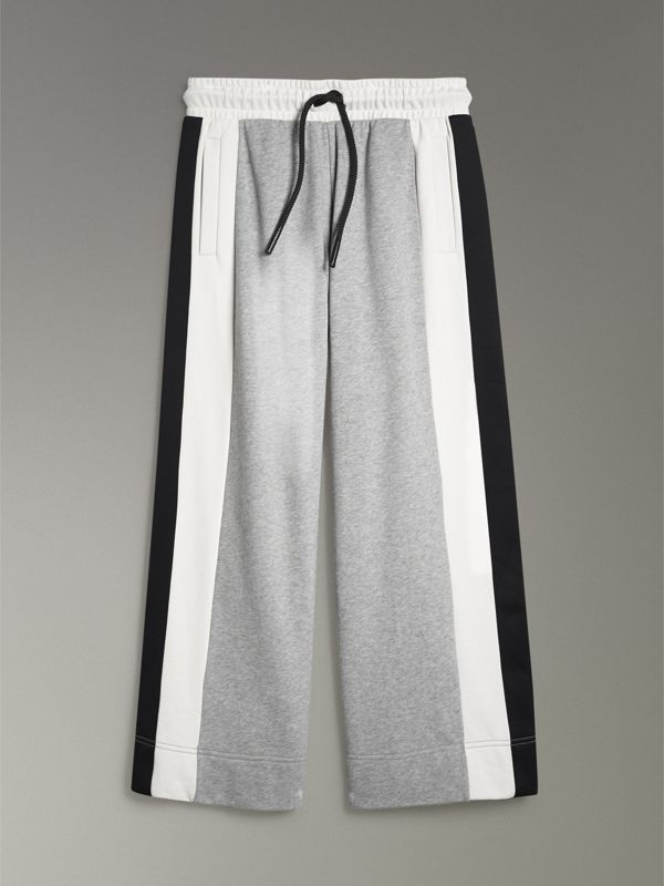Stripe Detail Wide-leg Cotton Jersey Sweatpants in Pale Grey Melange - Women | Burberry United Kingdom - cell image 3