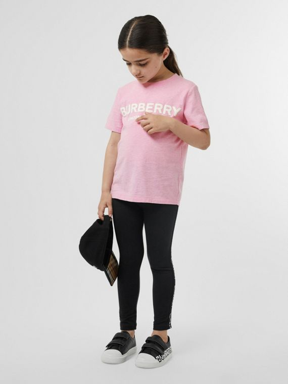 Logo Print Cotton T-shirt in Pale Neon Pink