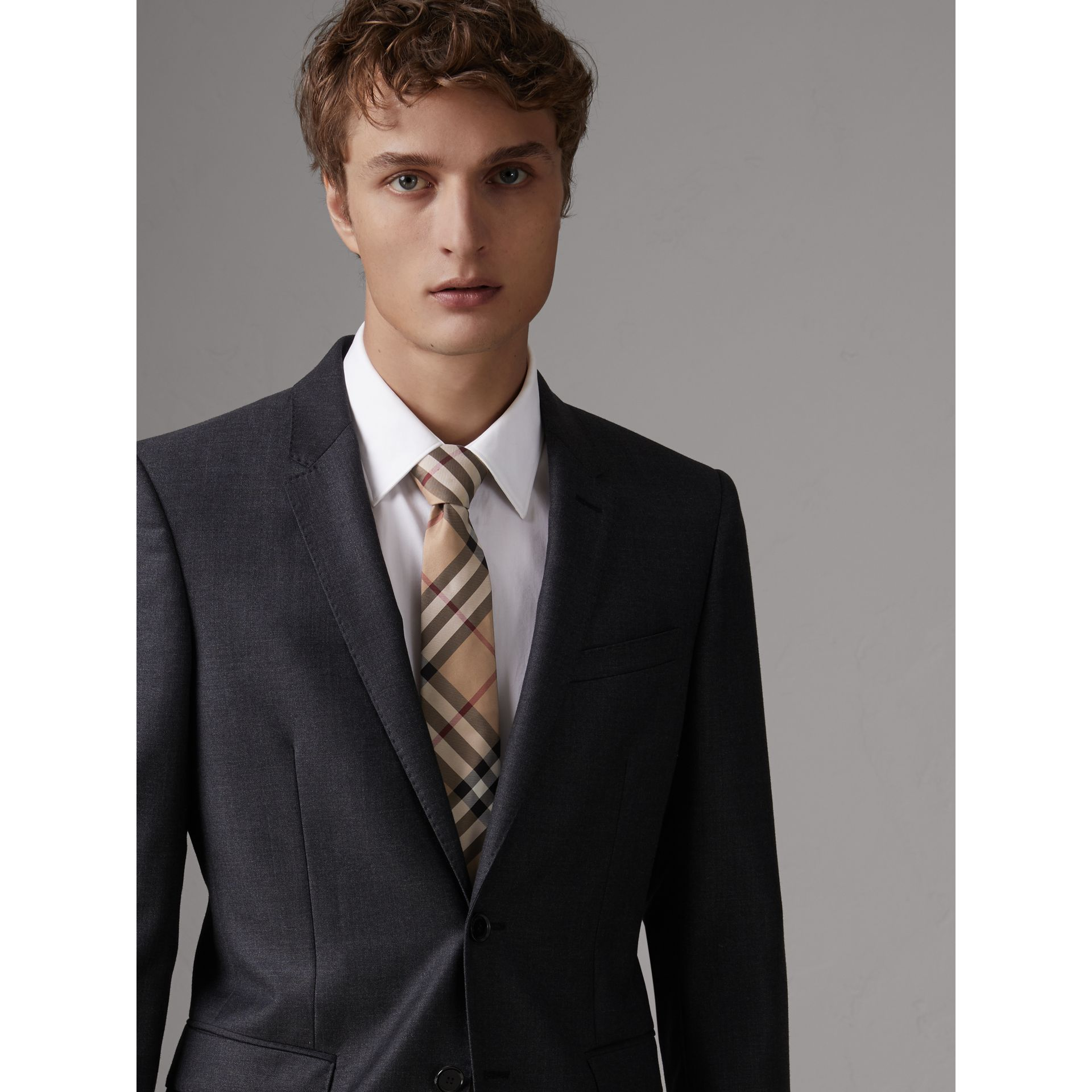 Modern Cut Check Silk Twill Tie in Camel - Men | Burberry Australia - gallery image 2