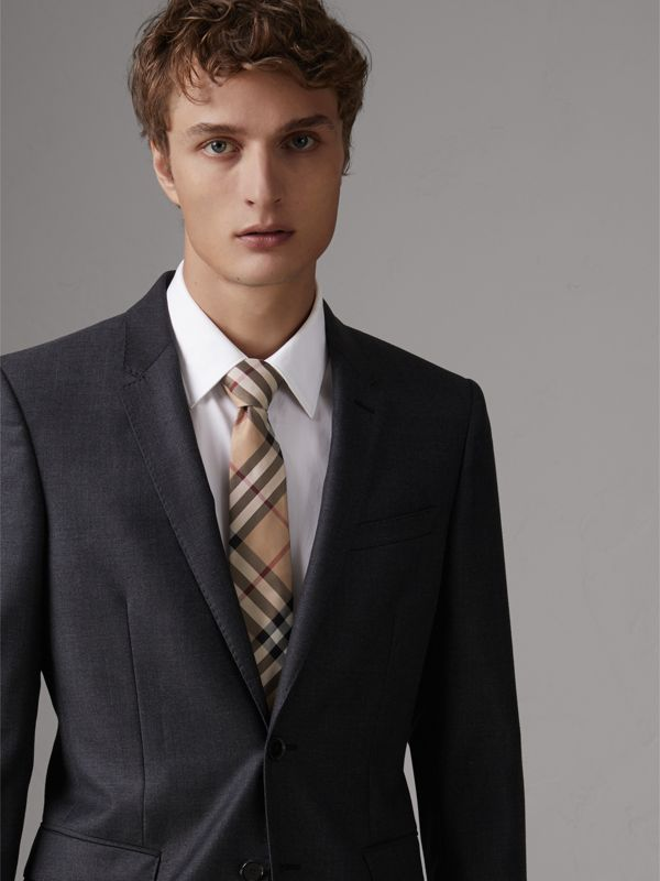 Modern Cut Check Silk Twill Tie in Camel - Men | Burberry United Kingdom - cell image 2