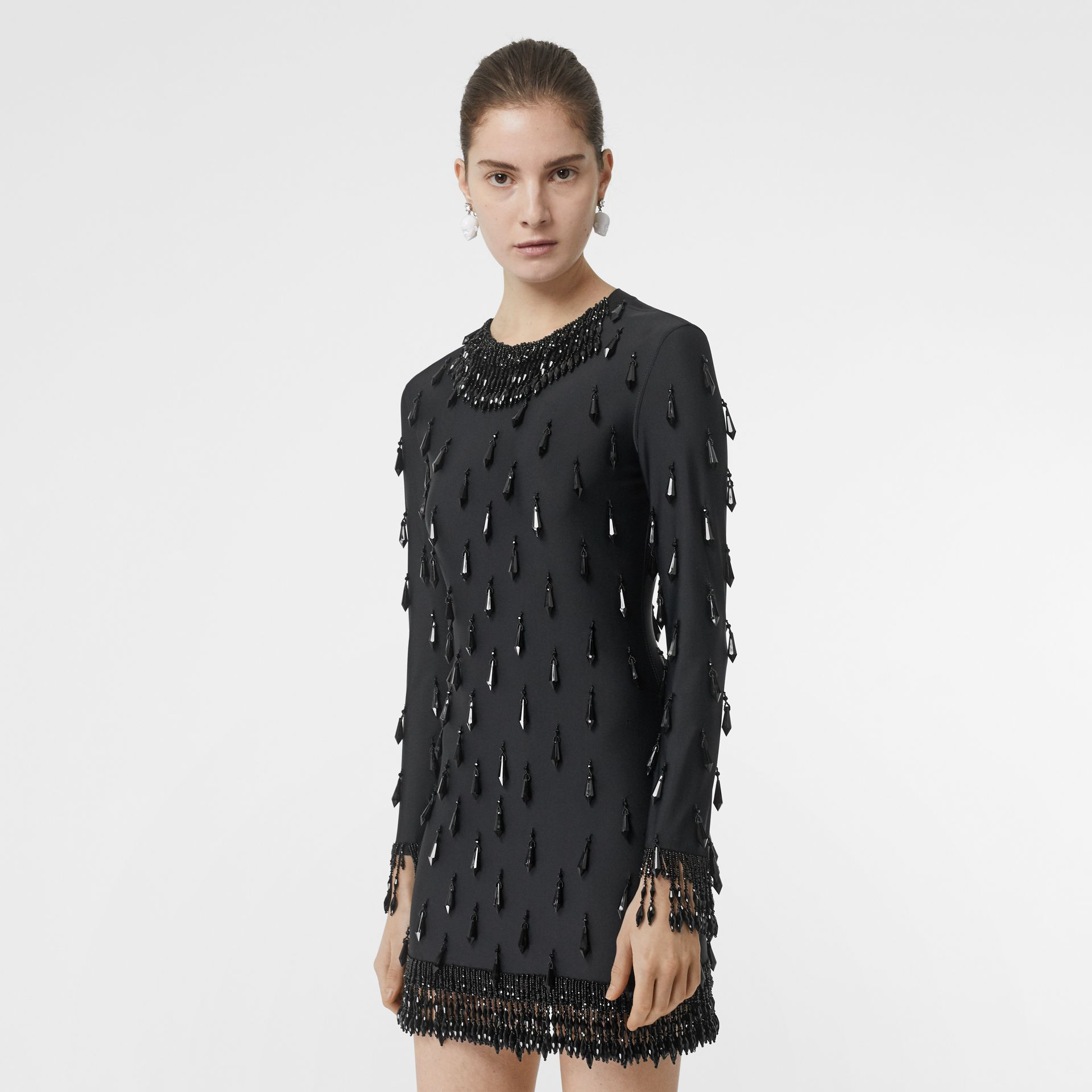 Long-sleeve Embellished Mini Dress in Black - Women | Burberry Hong Kong - gallery image 5