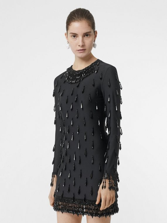 Long-sleeve Embellished Mini Dress in Black