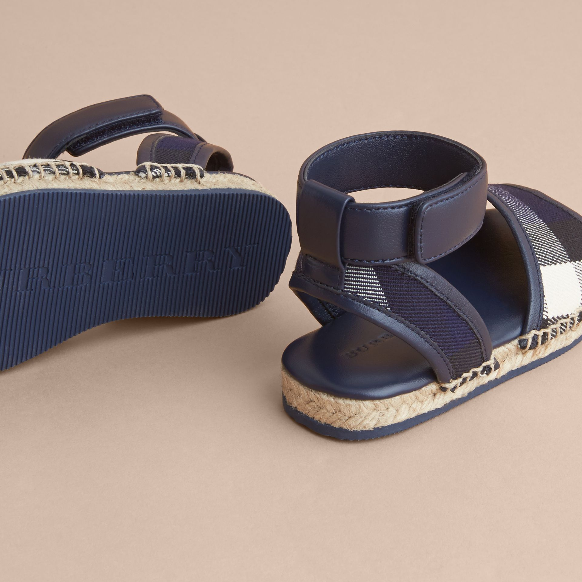 Leather Ankle Strap and House Check Espadrille Sandals in Bright Sapphire - Children | Burberry - gallery image 4