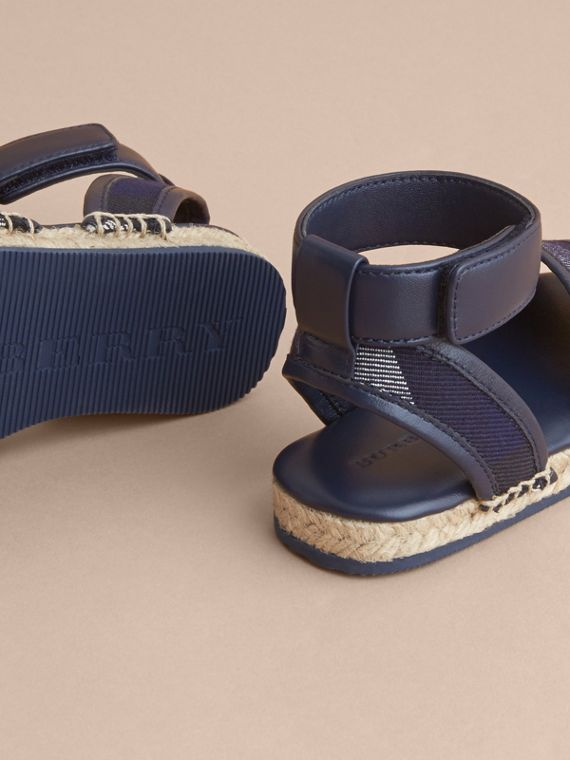 Leather Ankle Strap and House Check Espadrille Sandals in Bright Sapphire - Children | Burberry - cell image 3