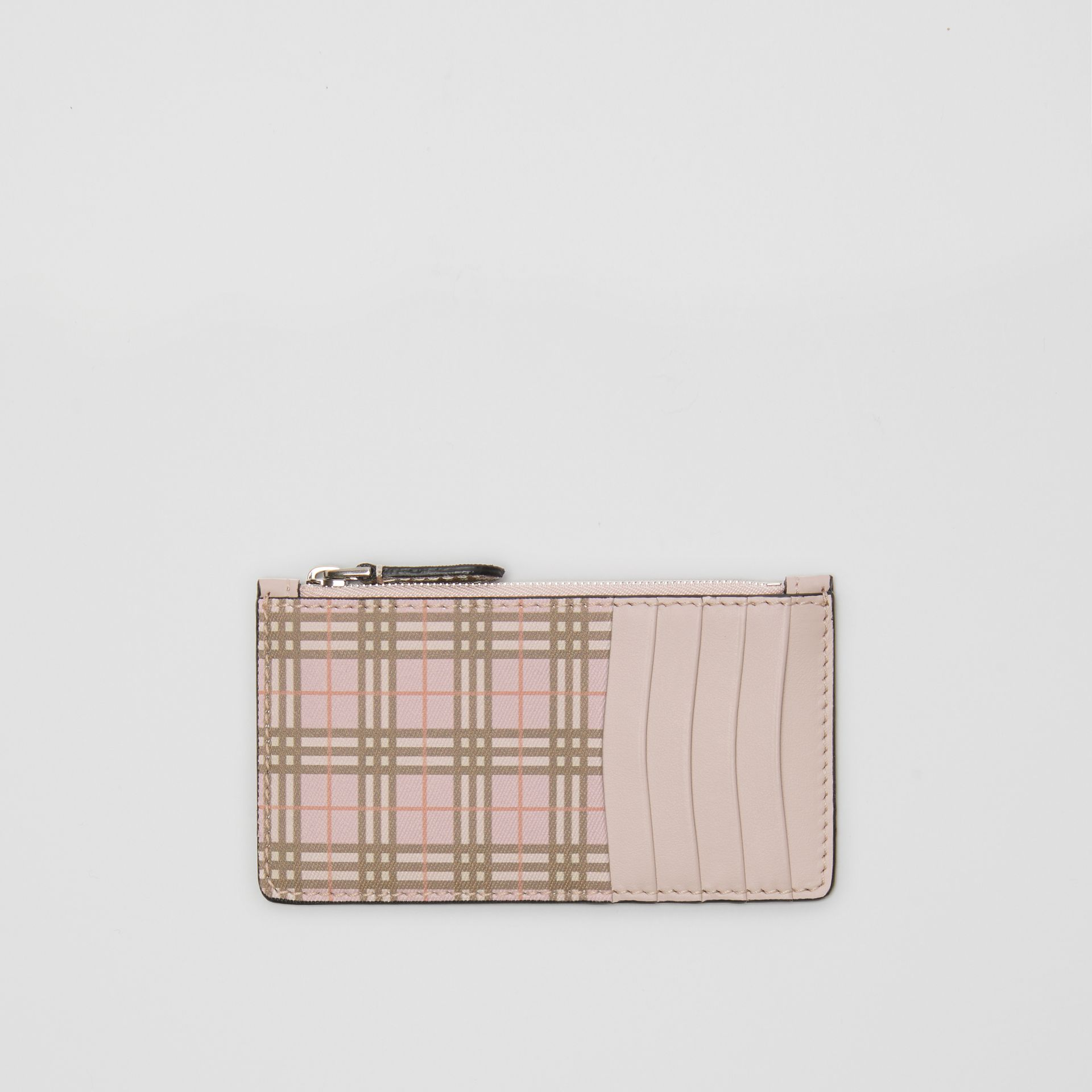Small Scale Check and Leather Card Case in Pink - Women | Burberry United Kingdom - gallery image 0
