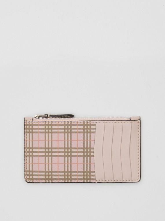Small Scale Check and Leather Card Case in Ice Pink