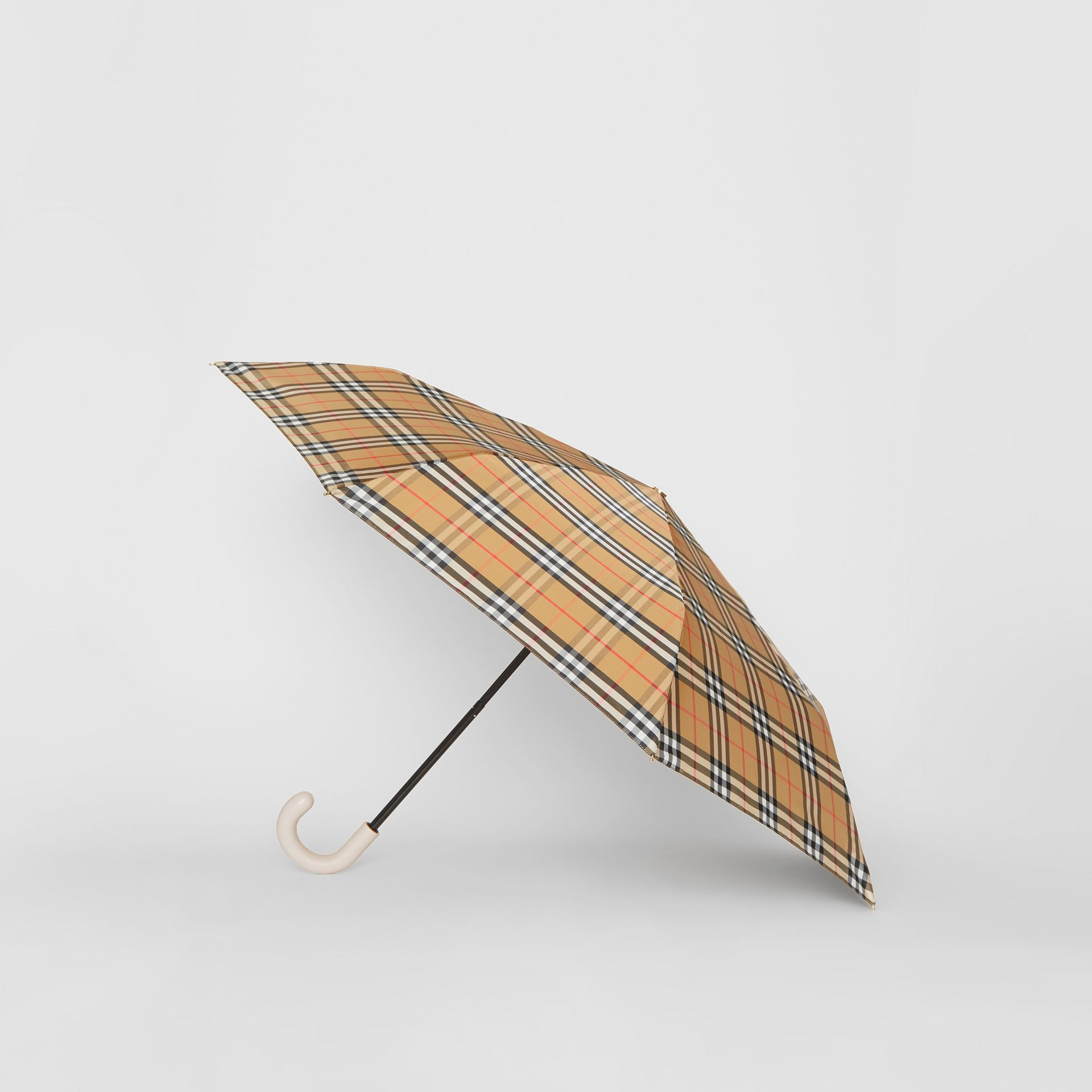 Vintage Check Folding Umbrella in Antique Yellow/limestone | Burberry Singapore - gallery image 3