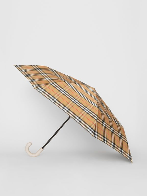 Vintage Check Folding Umbrella in Antique Yellow/limestone | Burberry United States - cell image 3