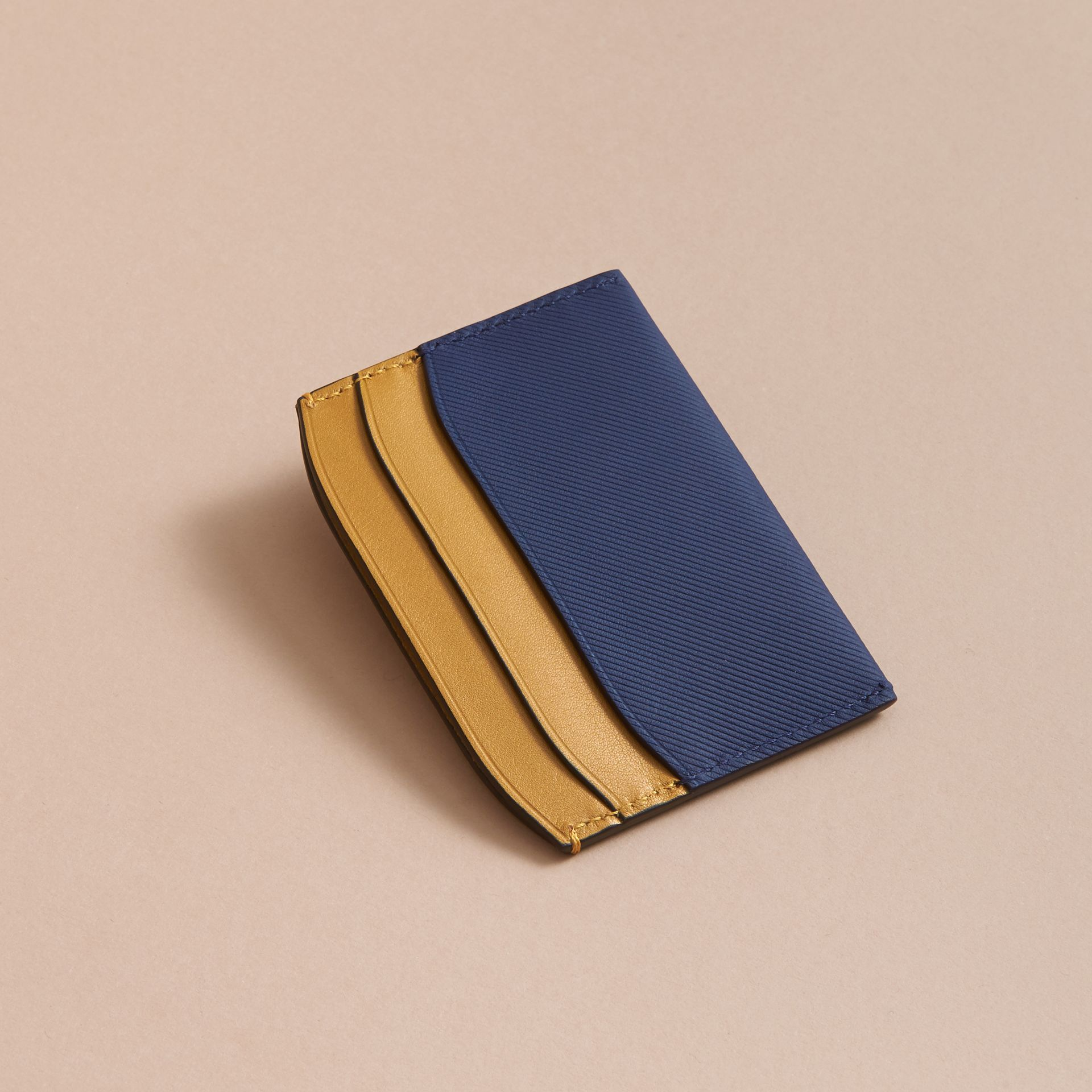 Two-tone Trench Leather Card Case in Ink Blue/ochre Yellow - Women | Burberry Canada - gallery image 3