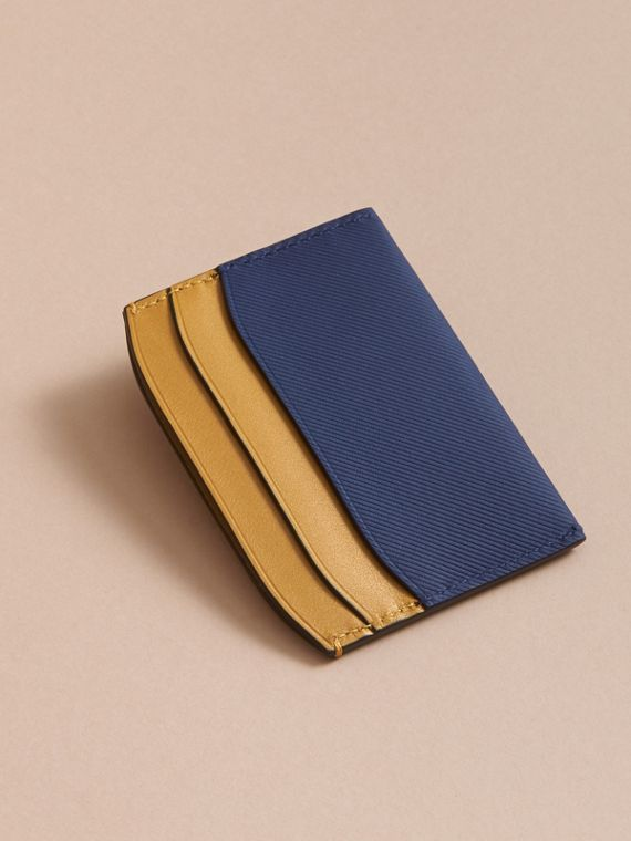 Two-tone Trench Leather Card Case in Ink Blue/ochre Yellow - Women | Burberry Canada - cell image 2