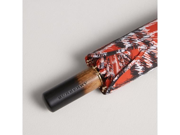 Scribble Check Print Folding Umbrella in Red | Burberry - cell image 1