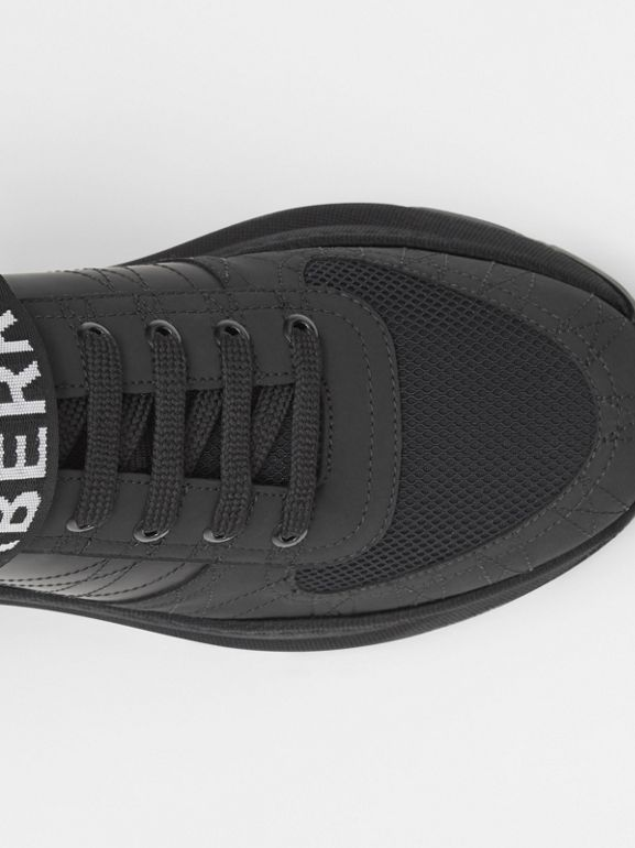 Logo Detail Leather, Nubuck and Mesh Sneakers in Black - Men | Burberry Singapore - cell image 1