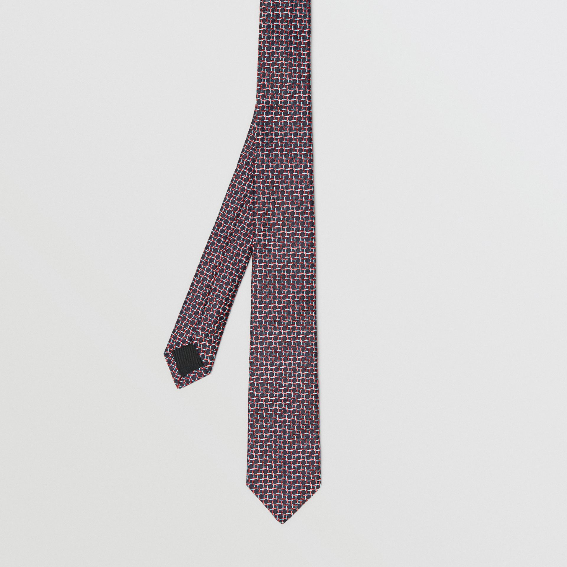 Slim Cut Micro Check Silk Jacquard Tie in Dark Navy - Men | Burberry United Kingdom - gallery image 3