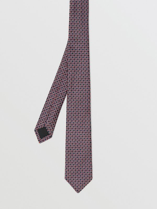 Slim Cut Micro Check Silk Jacquard Tie in Dark Navy - Men | Burberry - cell image 3