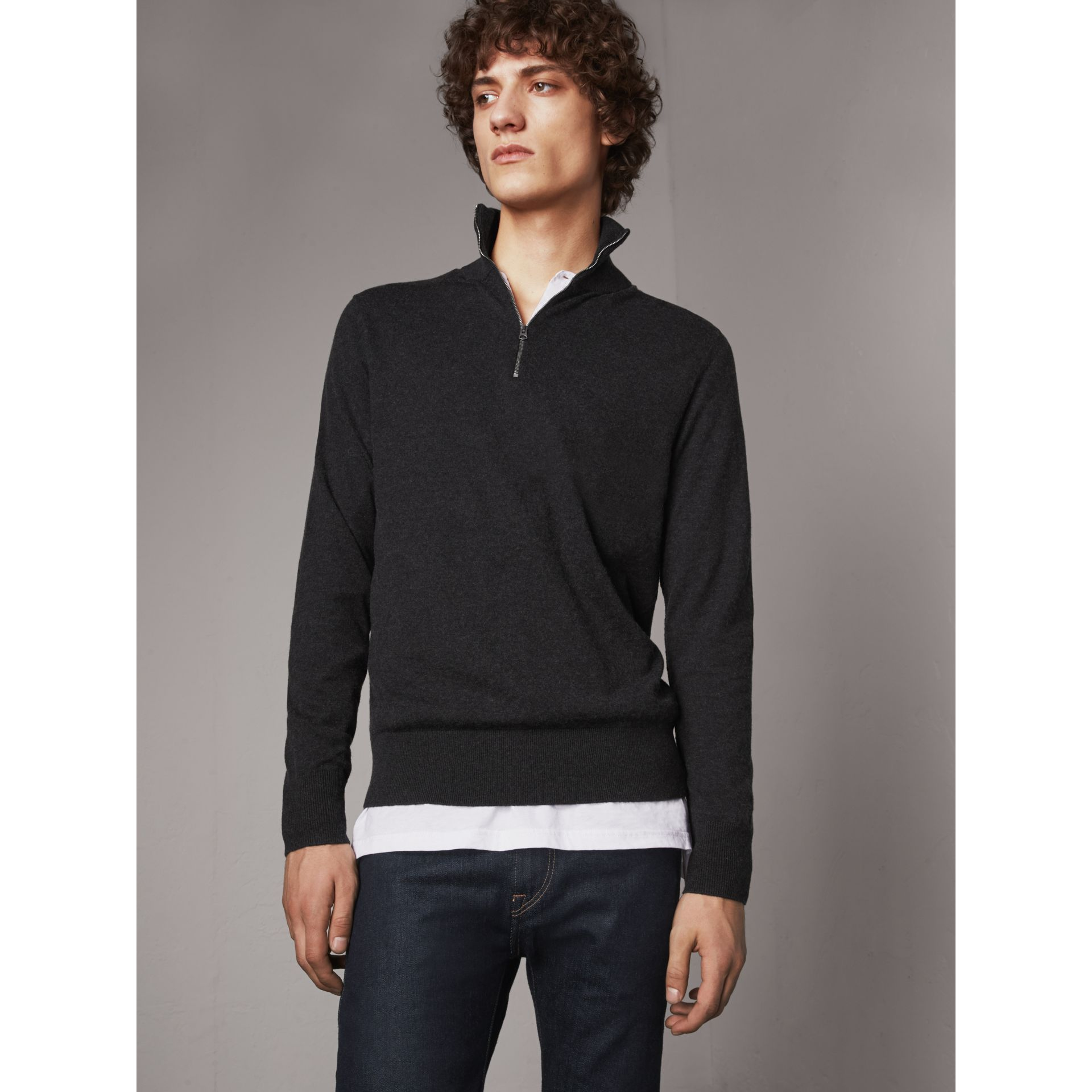 Zip-neck Cashmere Cotton Sweater in Charcoal - Men | Burberry - gallery image 1