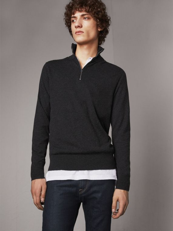 Zip-neck Cashmere Cotton Sweater in Charcoal