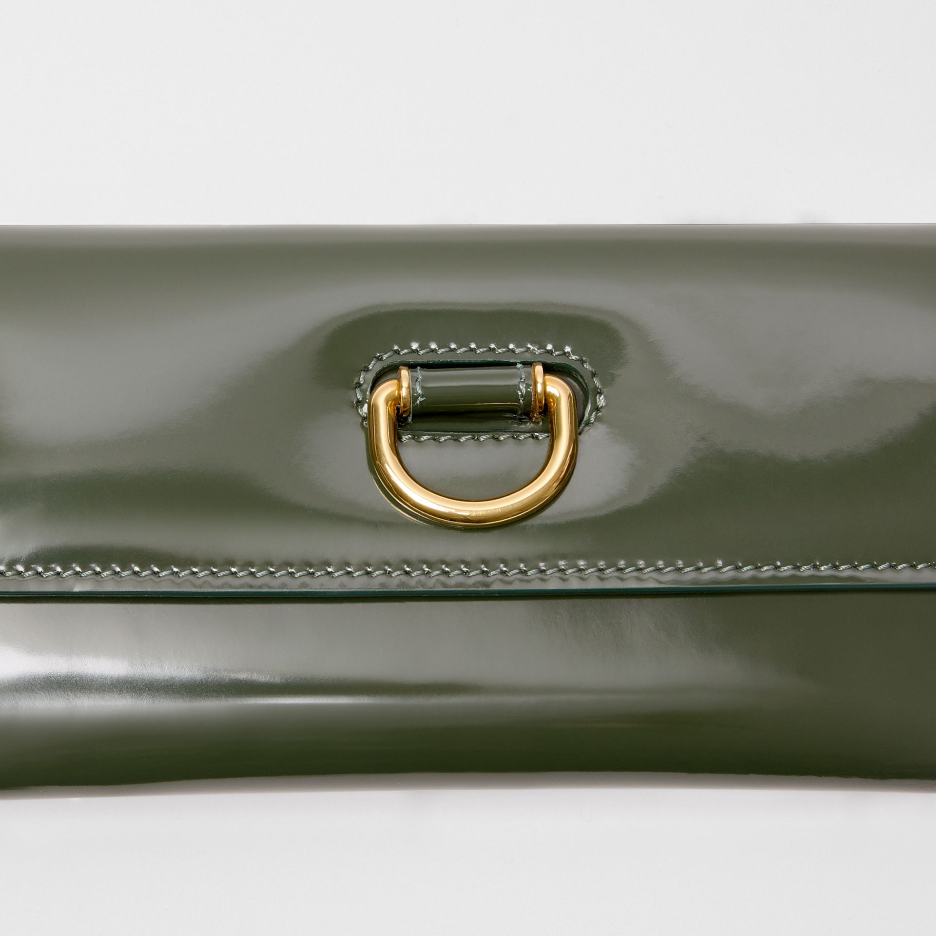 D-ring Patent Leather Continental Wallet in Dark Forest Green - Women | Burberry United States - gallery image 1