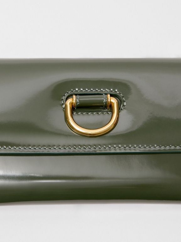D-ring Patent Leather Continental Wallet in Dark Forest Green - Women | Burberry United States - cell image 1