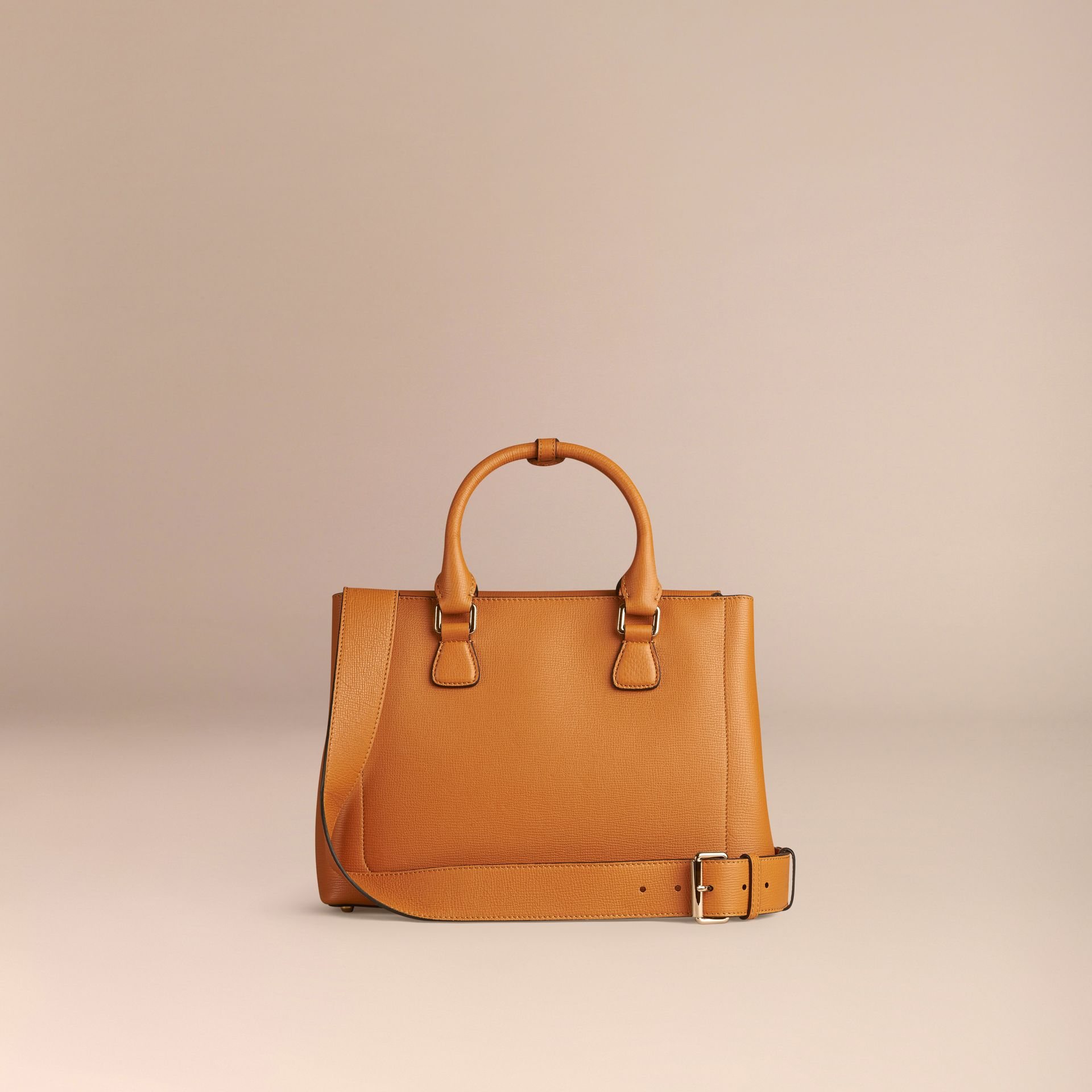 Cognac The Medium Saddle Bag in Grainy Bonded Leather Cognac - gallery image 4