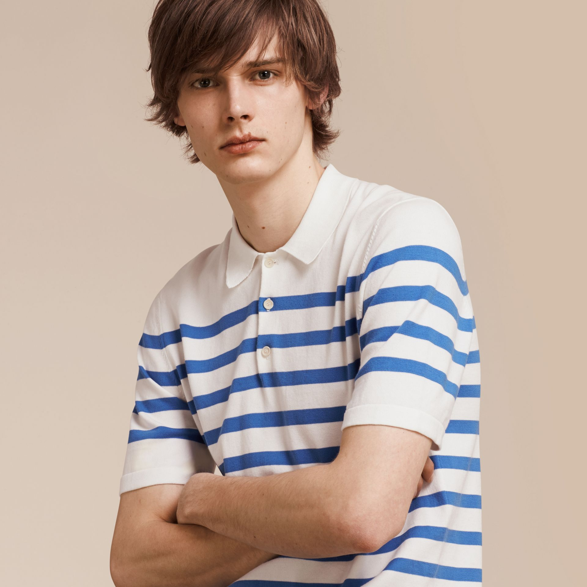 White/bright hydrangea blue Striped Cotton Polo Shirt White/bright Hydrangea Blue - gallery image 1