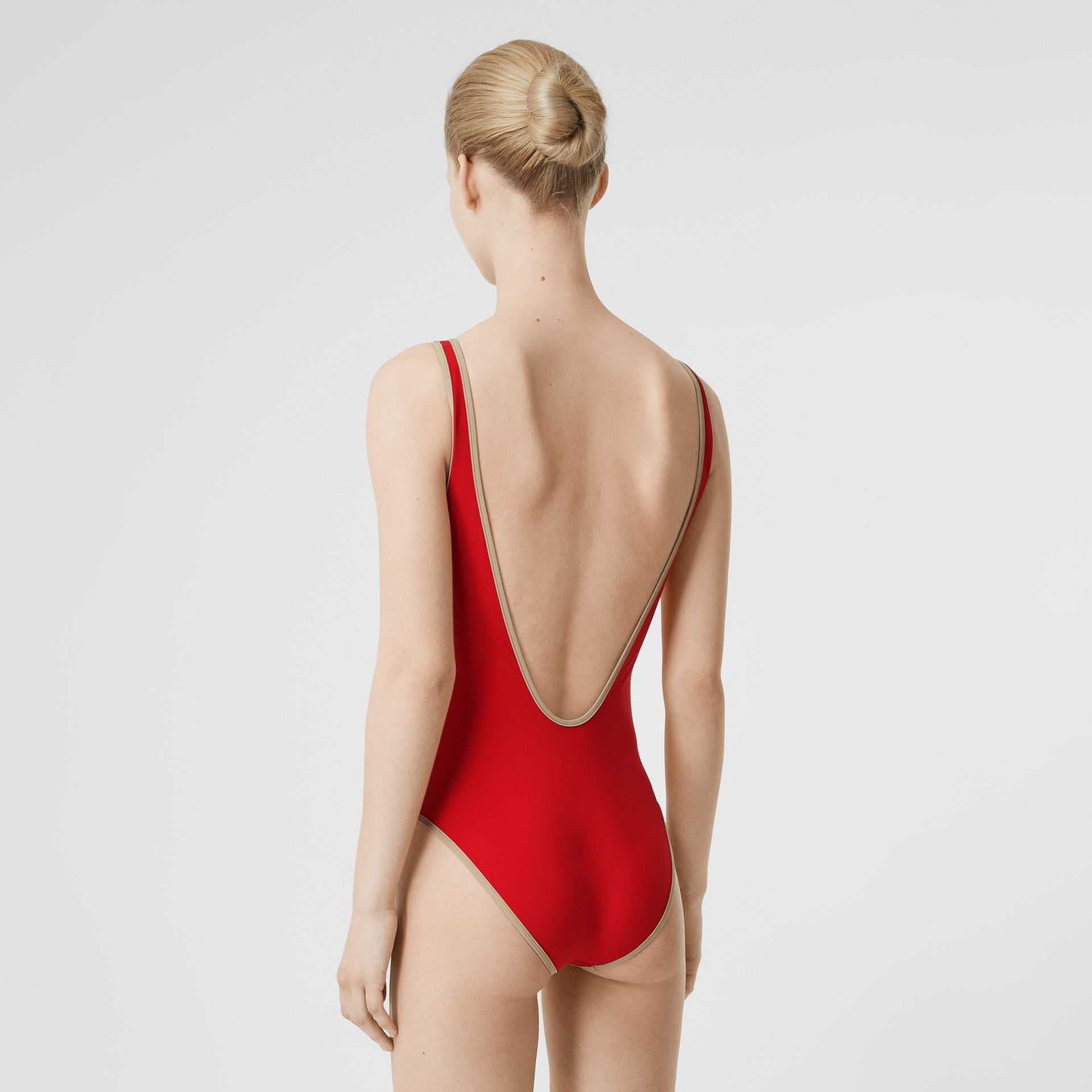 Logo Detail Zip-front Swimsuit in Bright Red - Women | Burberry - gallery image 1
