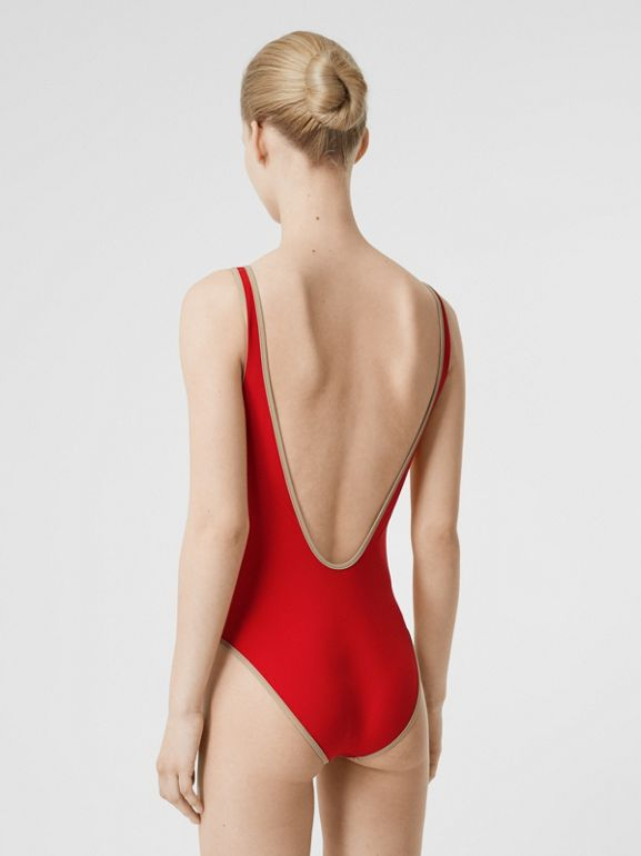 Logo Detail Zip-front Swimsuit in Bright Red - Women | Burberry - cell image 1