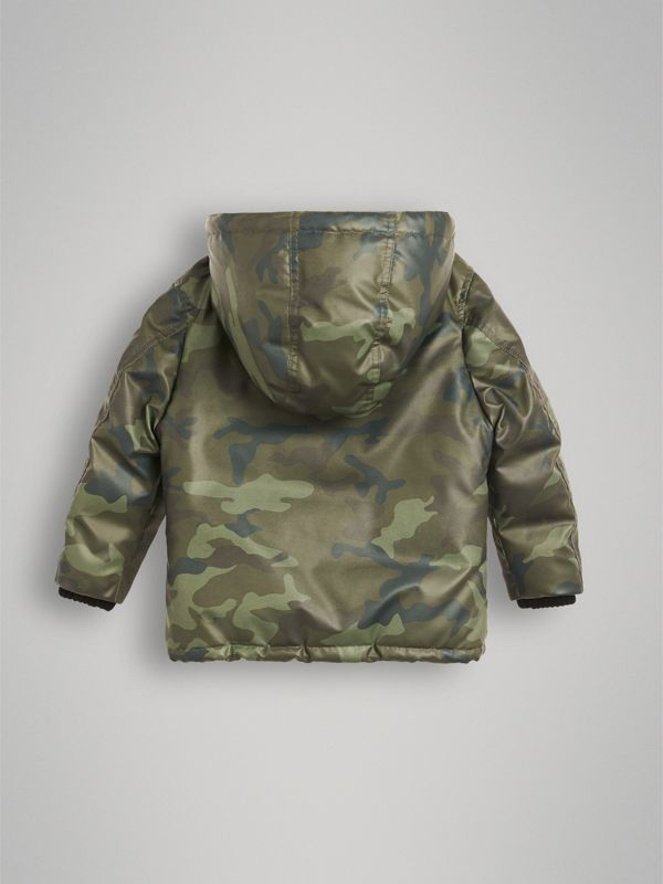 Camouflage Print Down-filled Puffer Jacket in Khaki | Burberry - cell image 2