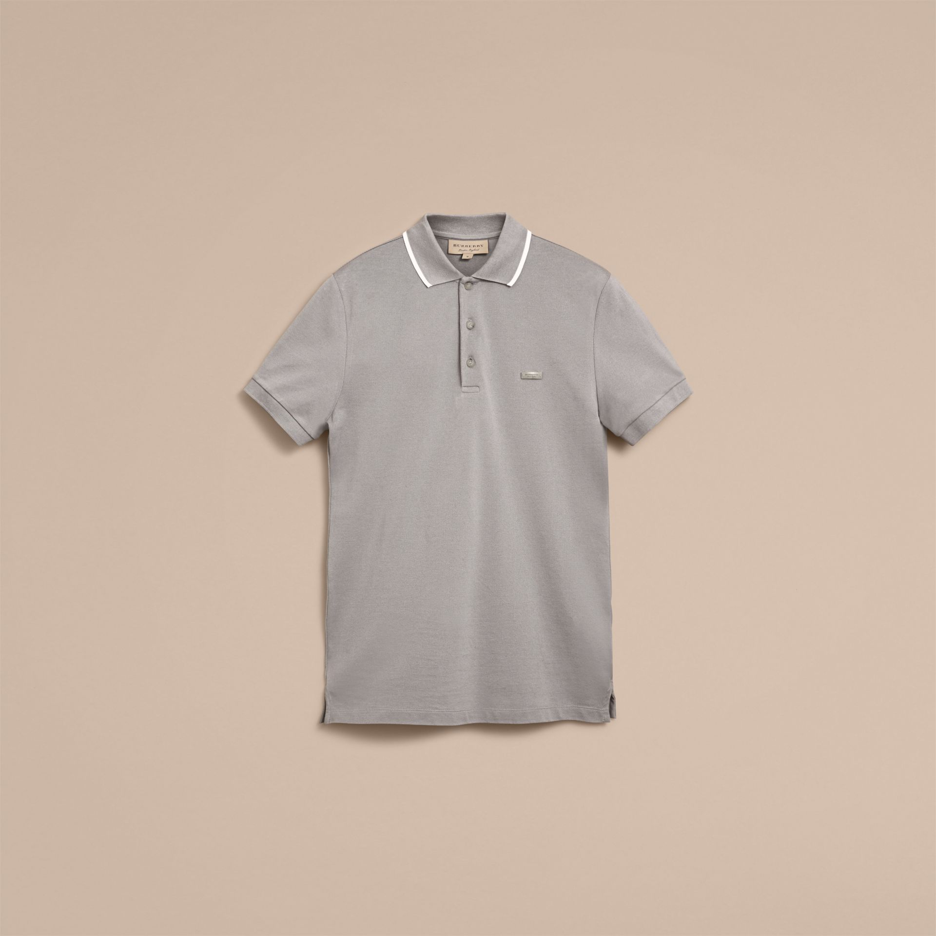 Tipped Collar Cotton Piqué Polo Shirt in Mist Grey - gallery image 4