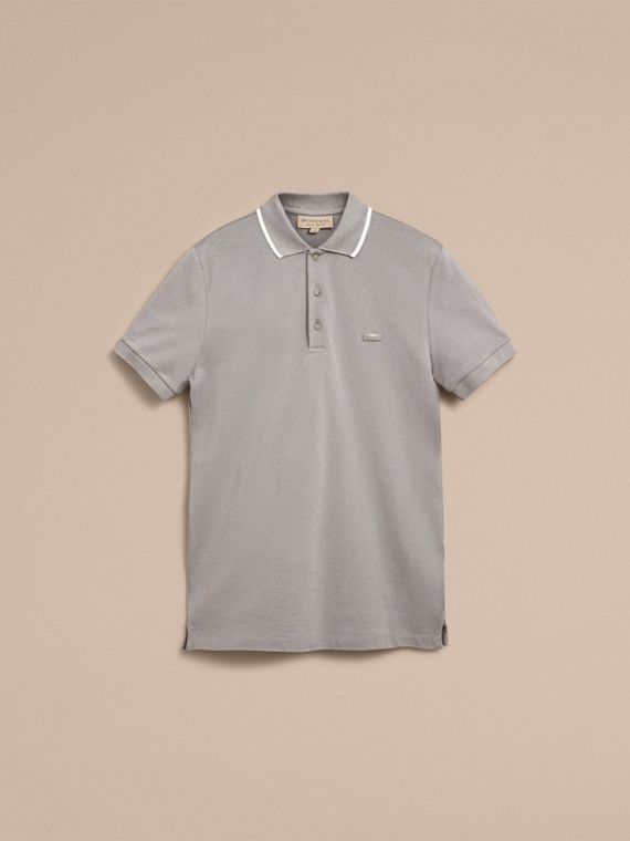 Tipped Collar Cotton Piqué Polo Shirt in Mist Grey - cell image 3