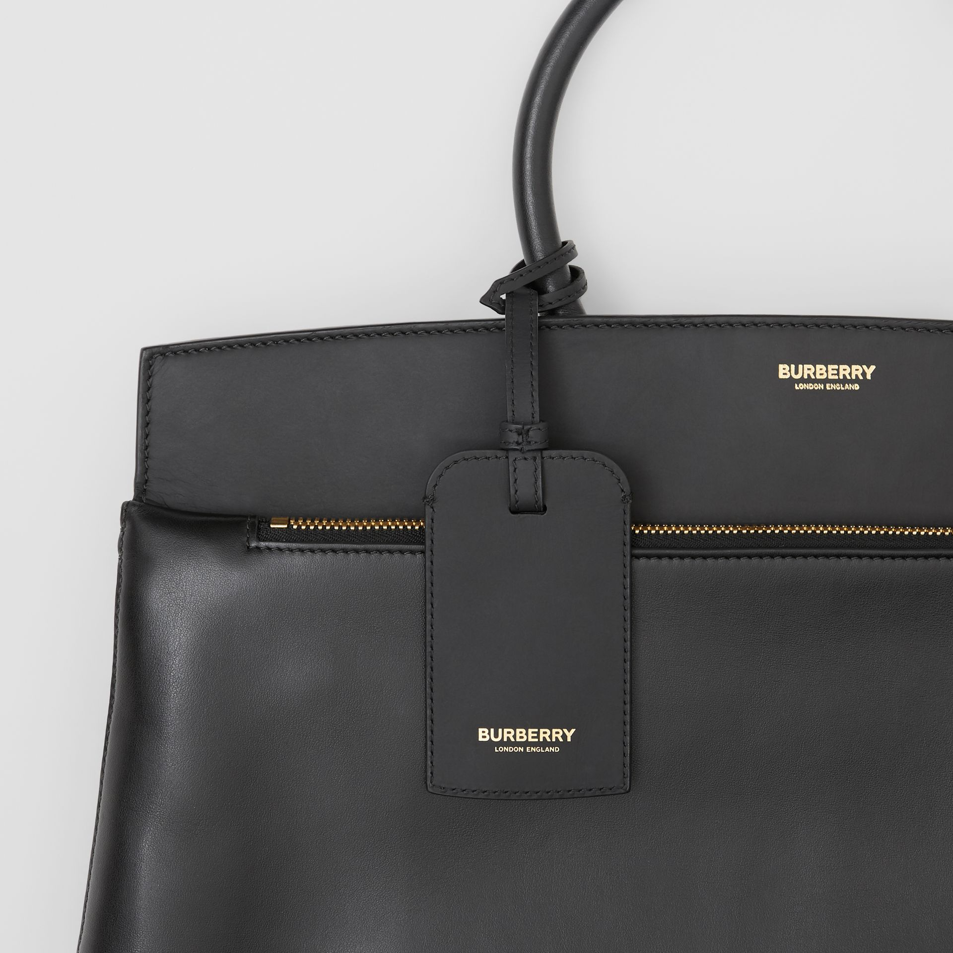 Leather Portrait Society Tote in Black - Men | Burberry United States - gallery image 7