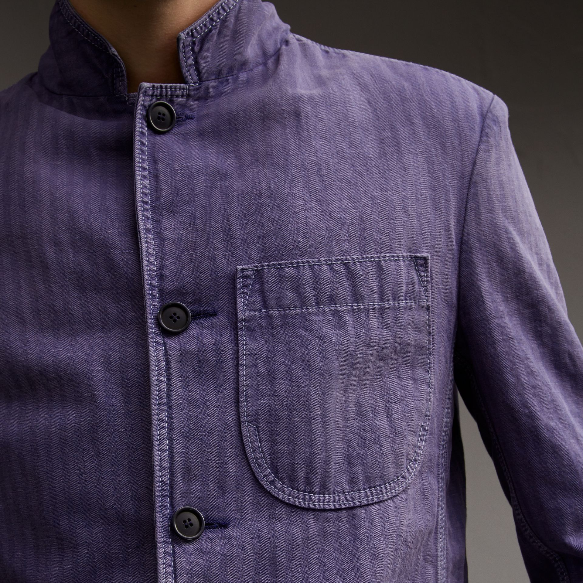 Herringbone Cotton Linen Workwear Jacket in Indigo - Men | Burberry - gallery image 5