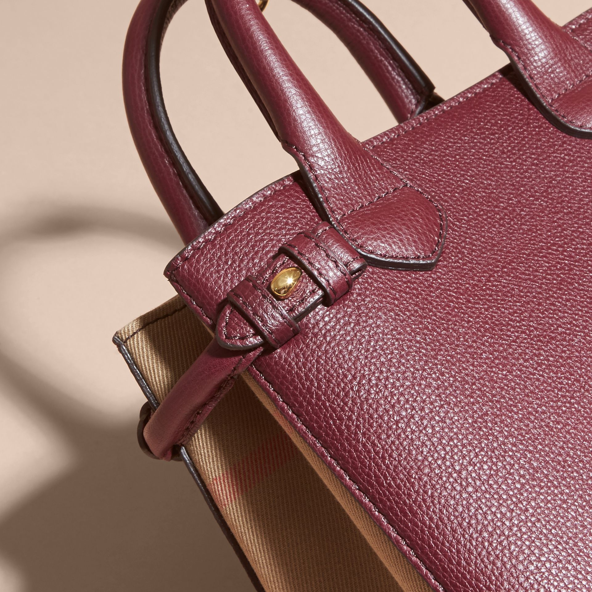 The Baby Banner in Leather and House Check in Mahogany Red - Women | Burberry - gallery image 7