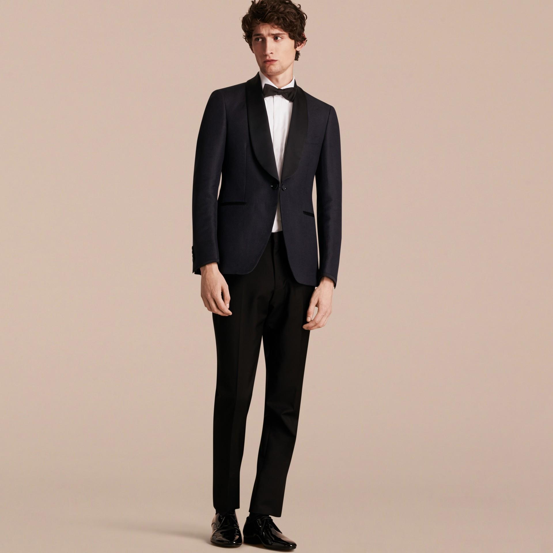 Slim Fit Shawl Lapel Linen Silk Evening Jacket Navy - gallery image 7