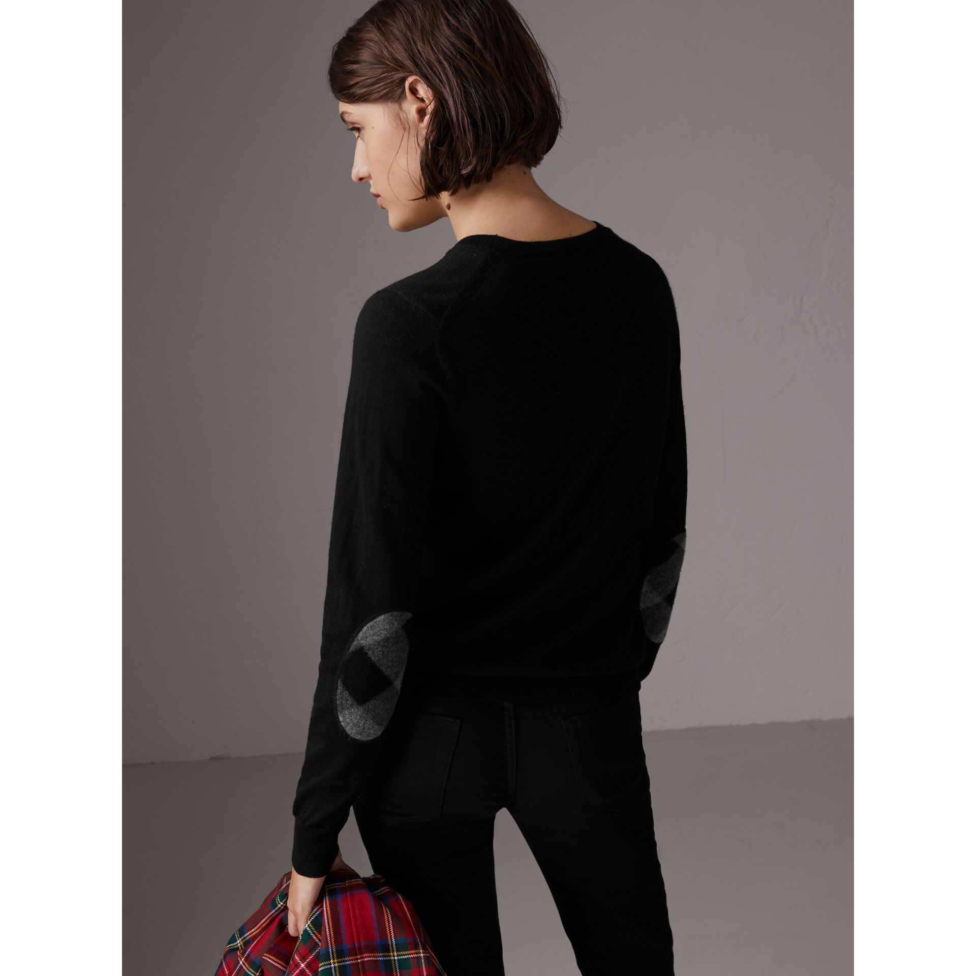 Check Detail Merino Wool Sweater in Black - Women | Burberry - gallery image 2
