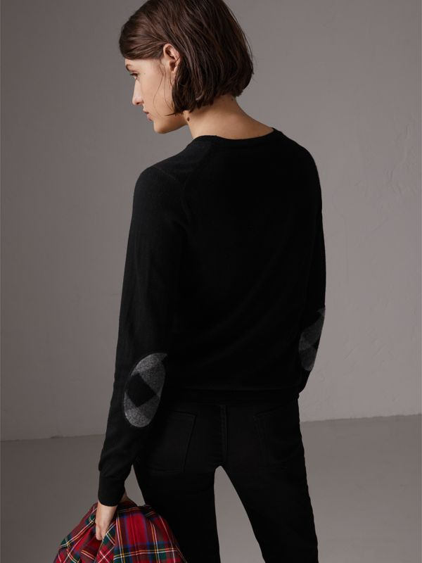 Check Detail Merino Wool Sweater in Black - Women | Burberry - cell image 2