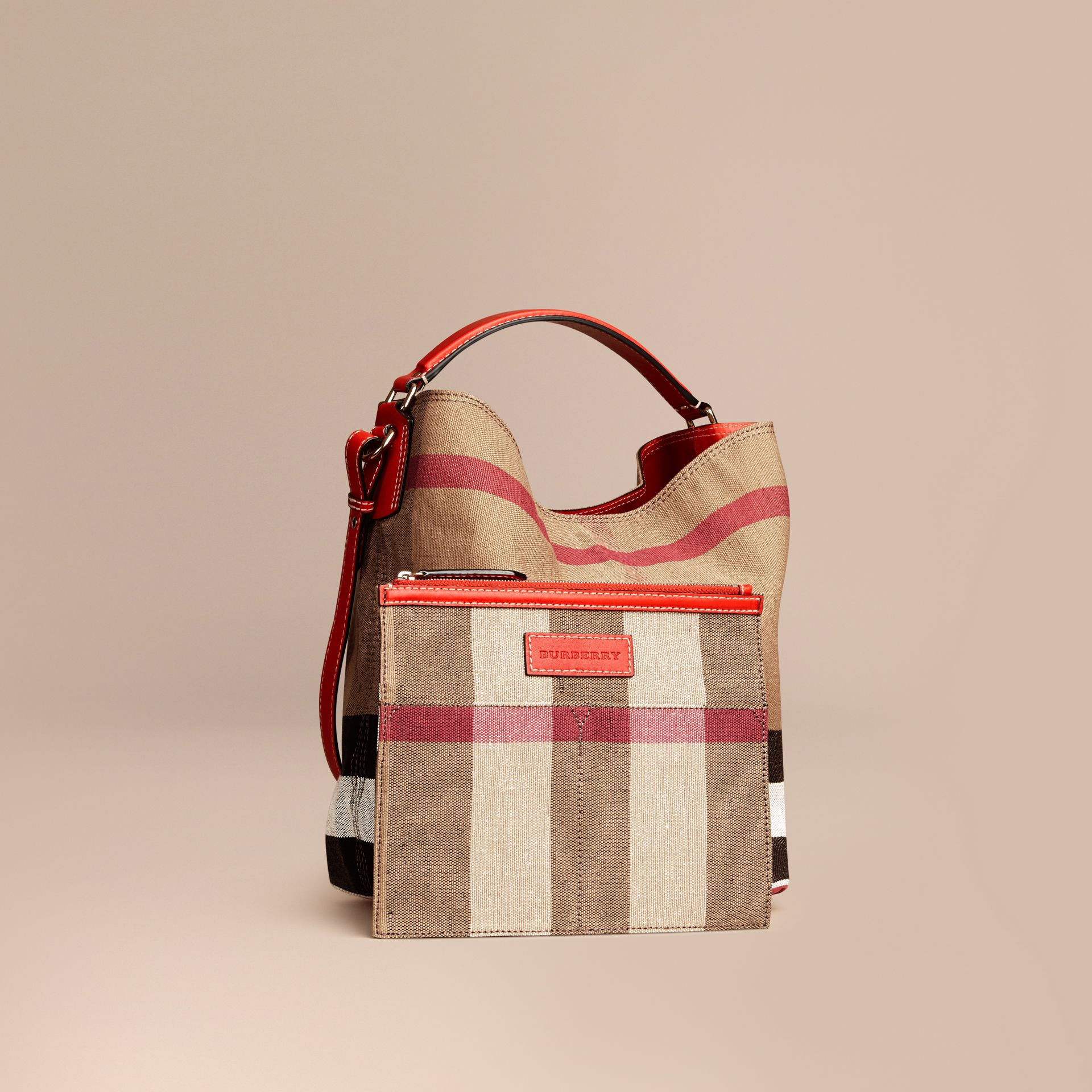 Medium Canvas Check Hobo Bag in Cadmium Red - Women | Burberry - gallery image 4