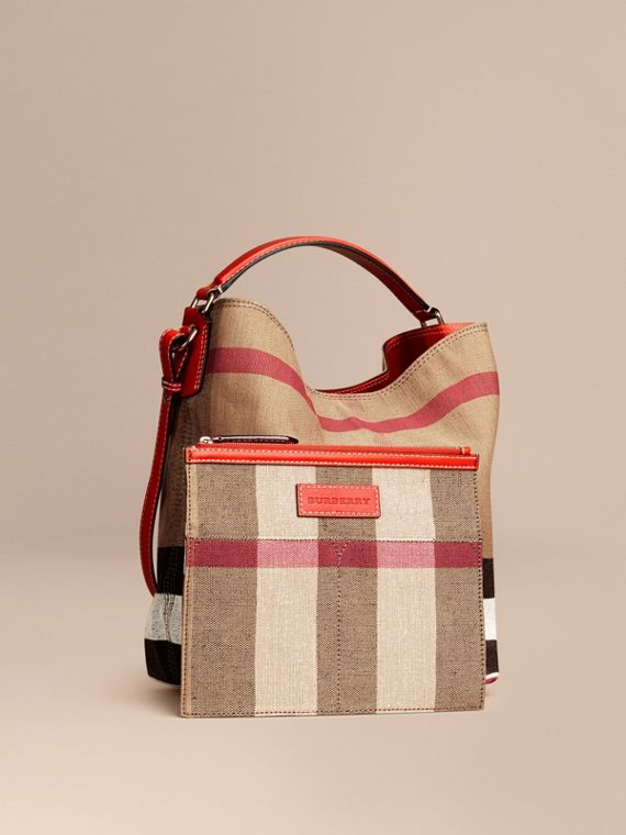 Medium Canvas Check Hobo Bag in Cadmium Red - Women | Burberry - cell image 3