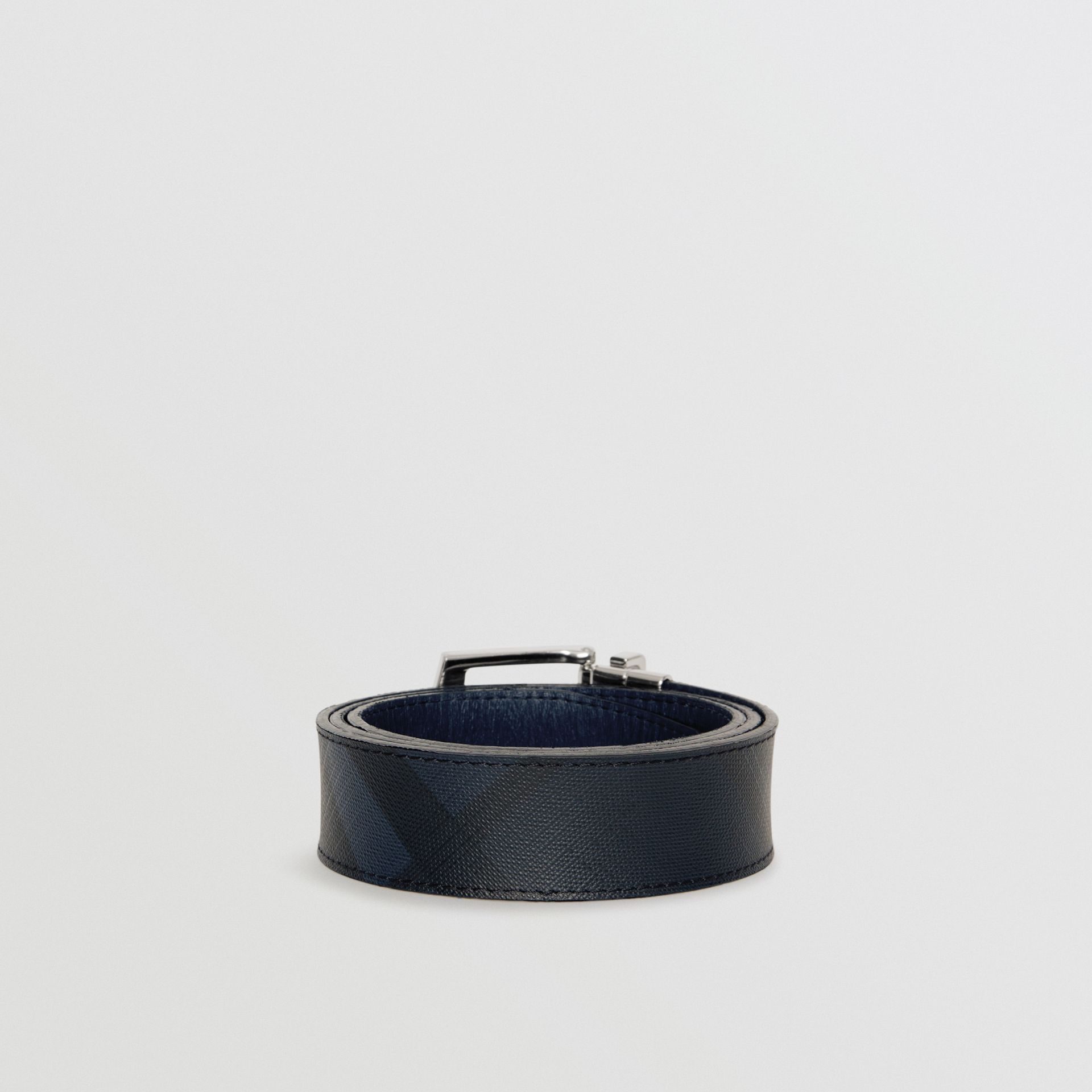 Reversible London Check and Leather Belt in Navy/black - Men | Burberry United Kingdom - gallery image 4