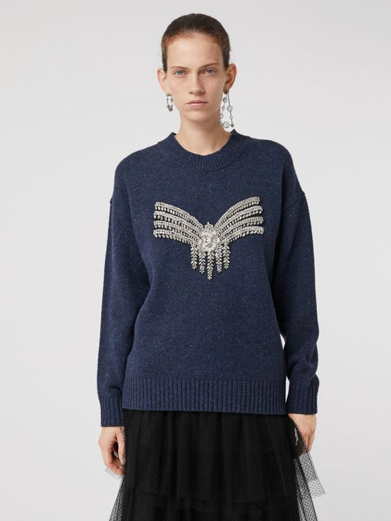 Crystal-embellished Merino Wool Sweater in Sapphire Blue