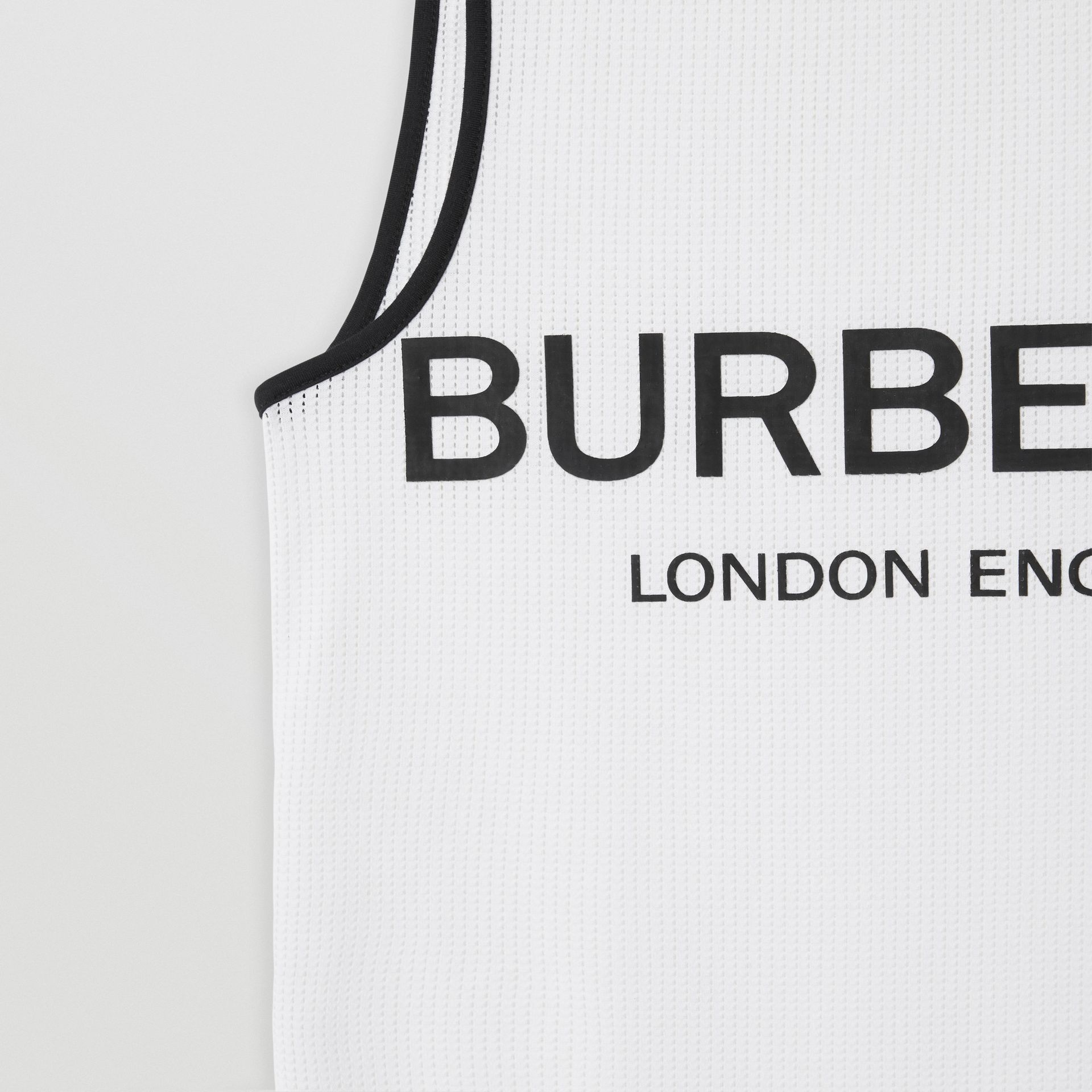 Logo Print Mesh Vest in White | Burberry - gallery image 4