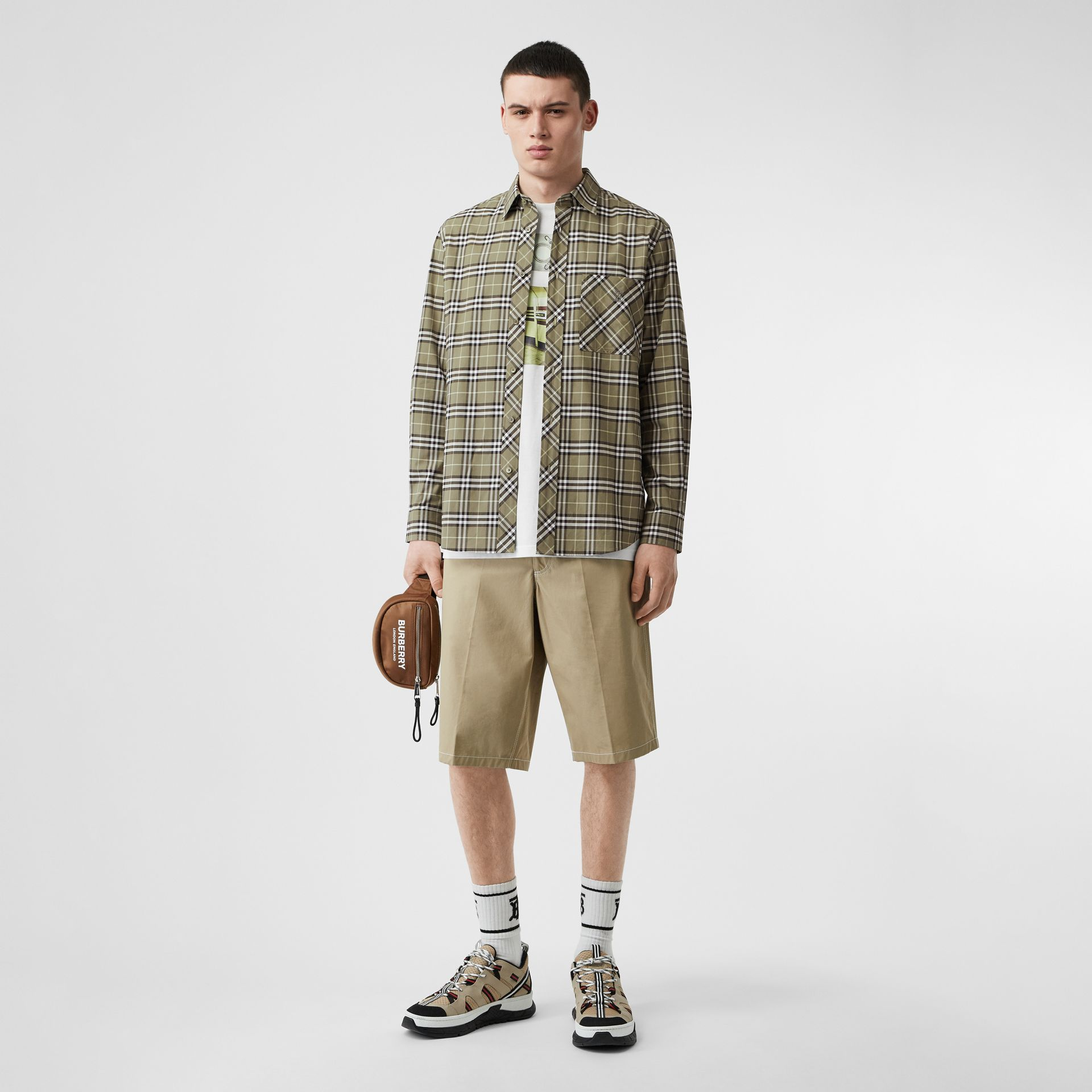 Small Scale Check Stretch Cotton Shirt in Chalk Green - Men | Burberry - gallery image 0