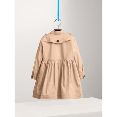 Check Detail Stretch Cotton Trench Dress in Honey Girl