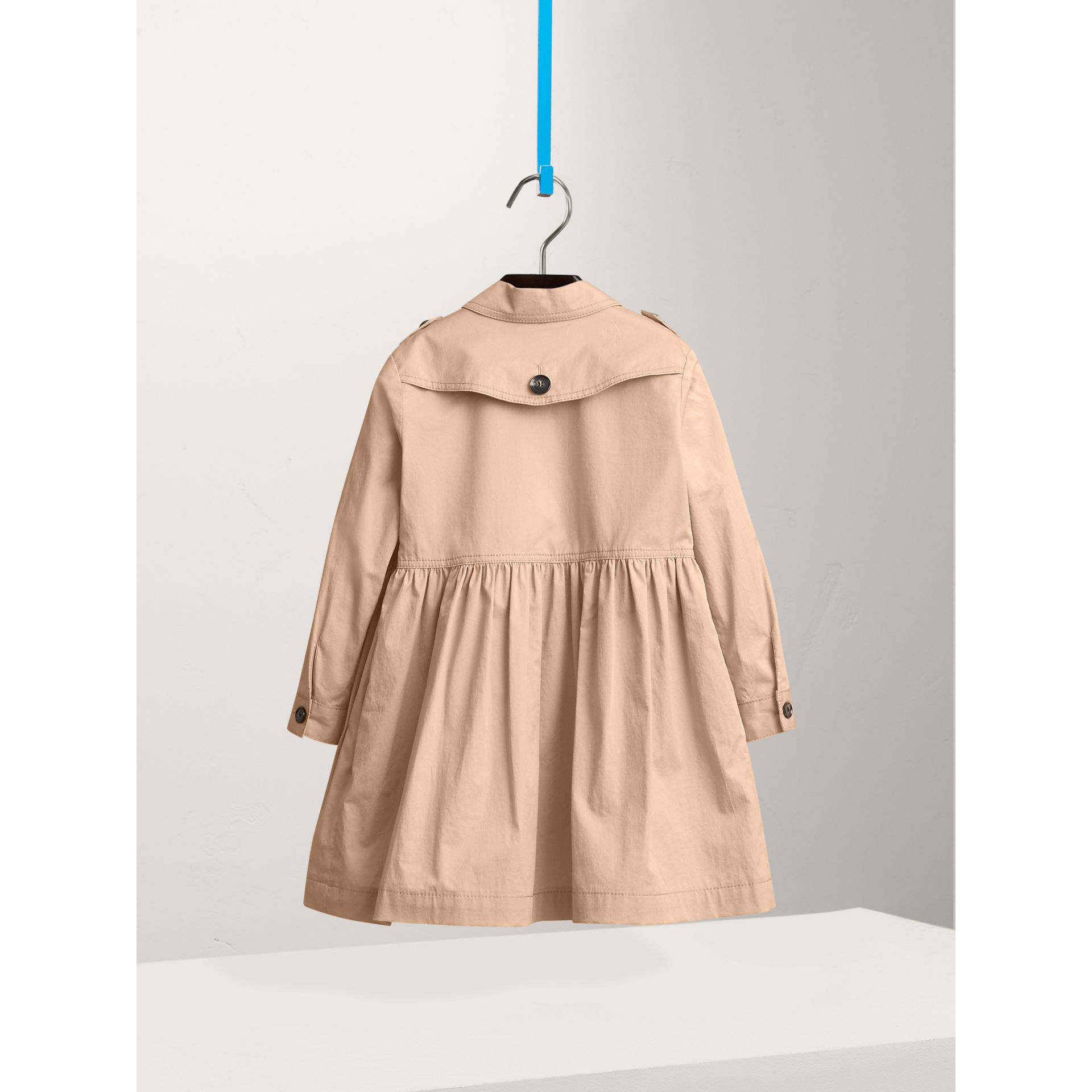 Check Detail Stretch Cotton Trench Dress in Honey - Girl | Burberry - gallery image 2