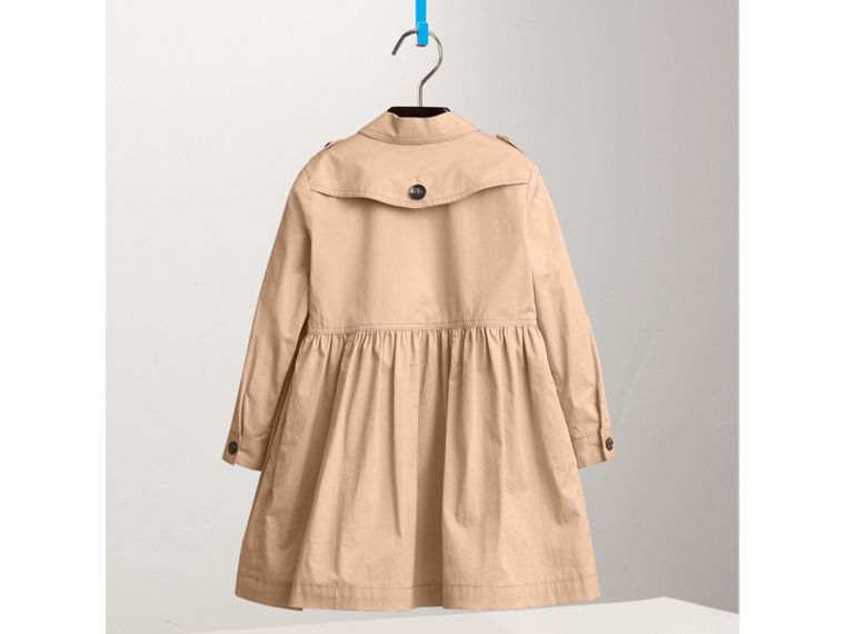 Check Detail Stretch Cotton Trench Dress in Honey - Girl | Burberry United Kingdom - cell image 2