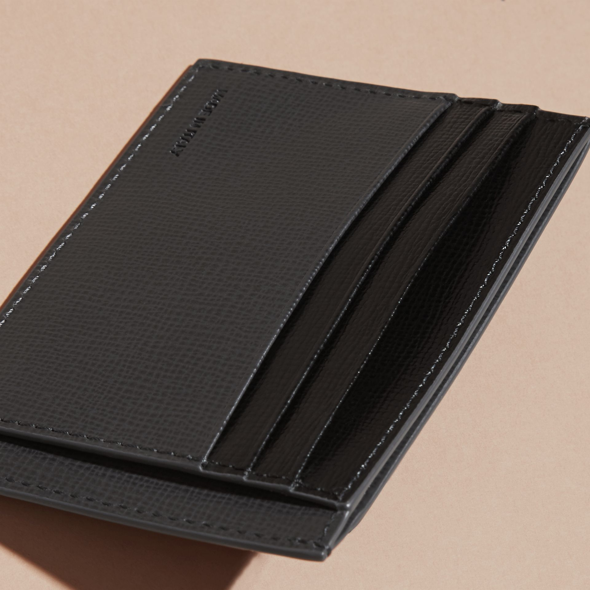 Charcoal/black Colour Block London Leather Card Case Charcoal/black - gallery image 5